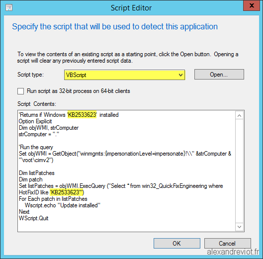 SCCM 2012 - Detection Method for Update - Alexandre VIOT